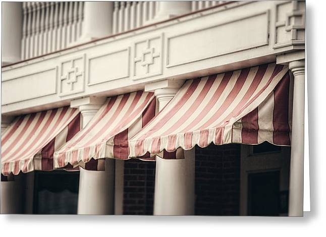 Foyer Greeting Cards - The Cafe Awnings at Chautauqua Institution New York  Greeting Card by Lisa Russo