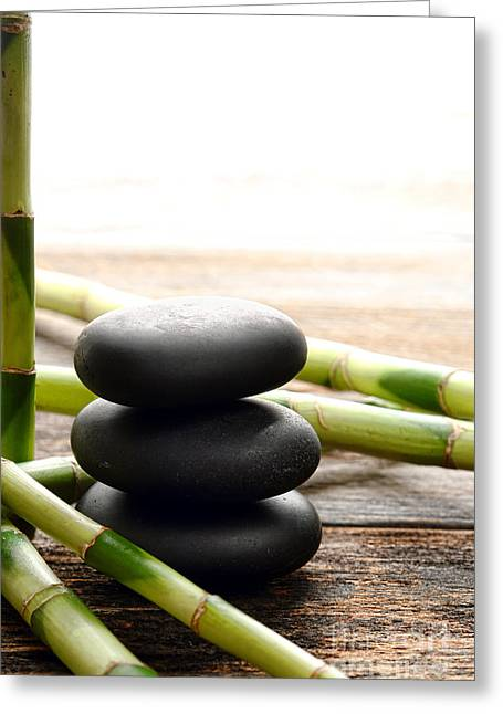 Meditative Greeting Cards - The Cairn and the Bamboo Greeting Card by Olivier Le Queinec