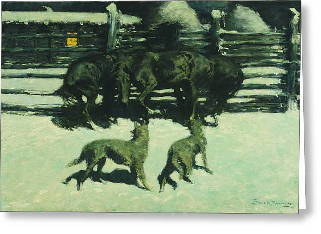 The Call For Help Greeting Card by Frederic Remington