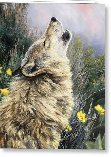 Wolf Greeting Cards - The Call Greeting Card by Lucie Bilodeau