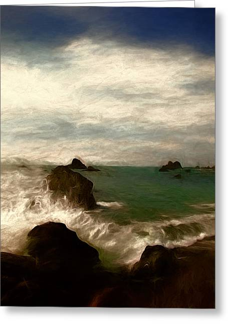 Ocean Shore Mixed Media Greeting Cards - The Call of the Sea Greeting Card by John K Woodruff
