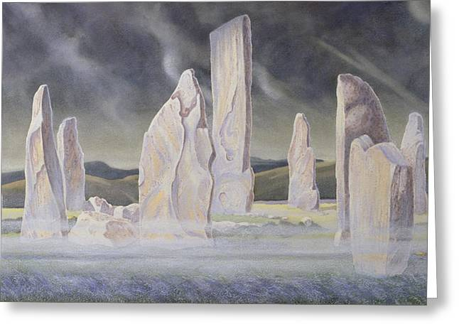 Dark Skies Greeting Cards - The Callanish Legend Isle of Lewis Greeting Card by Evangeline Dickson
