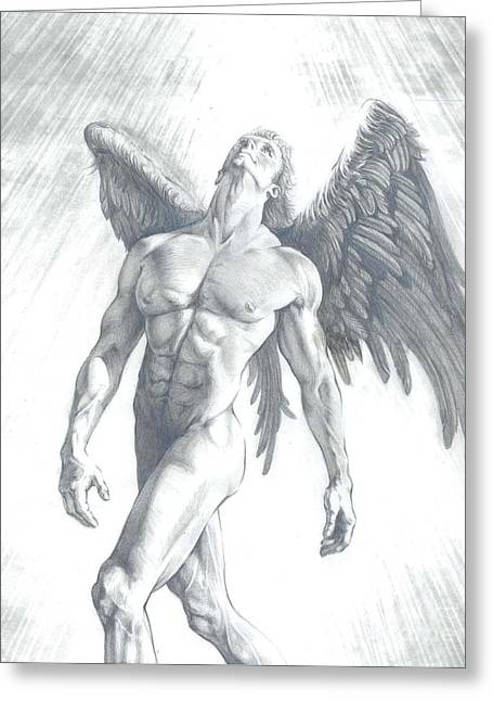 Archangel Drawings Greeting Cards - The Calling of an Angel Greeting Card by Karina Griffiths