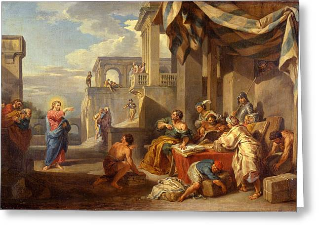 Giovanni Paolo Panini Greeting Cards - The Calling of Saint Matthew Greeting Card by Giovanni Paolo Panini