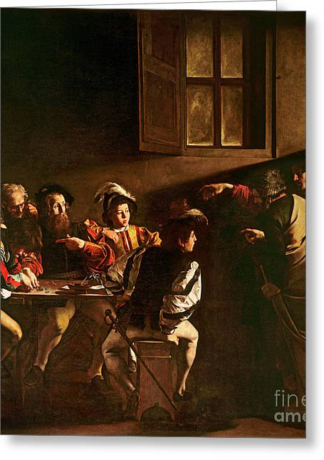 Chiaroscuro Greeting Cards - The Calling of St Matthew Greeting Card by Michelangelo Merisi o Amerighi da Caravaggio