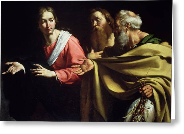 Come With Me Greeting Cards - The Calling of St. Peter and St. Andrew Greeting Card by Bernardo Strozzi