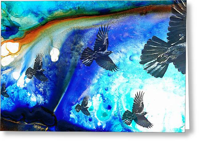 Canvas Crows Greeting Cards - The Calling - Raven Crow Art by Sharon Cummings Greeting Card by Sharon Cummings