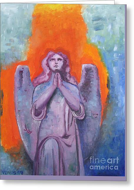Praying Hands Mixed Media Greeting Cards - The Calling Greeting Card by Venus