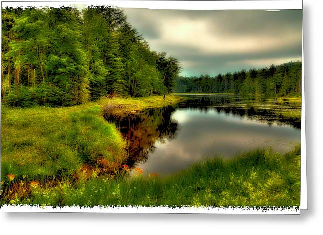 The Calm Of Fly Pond Greeting Card by David Patterson