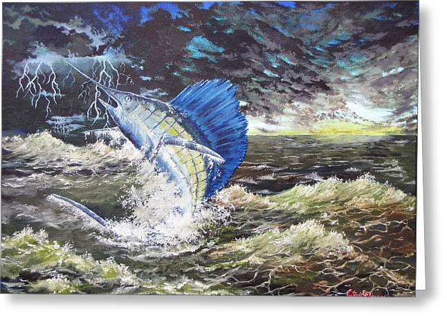 The Calm The Crazy The Sailfish Greeting Card by Kevin F Heuman
