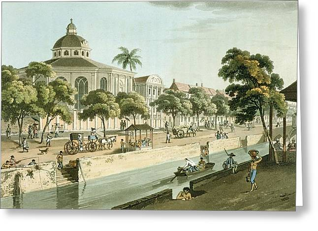 Canal Drawings Greeting Cards - The Calvinistic Church In Batavia Greeting Card by William Alexander