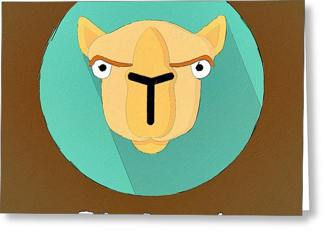Camel Greeting Cards - The Camel Cute Portrait Greeting Card by Florian Rodarte