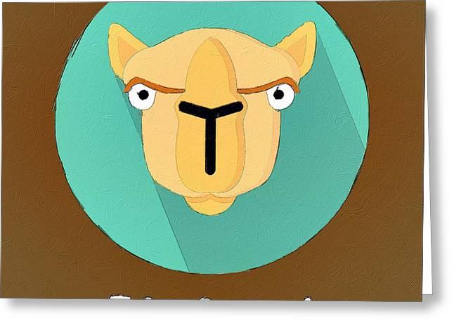 Camel Digital Greeting Cards - The Camel Cute Portrait Greeting Card by Florian Rodarte