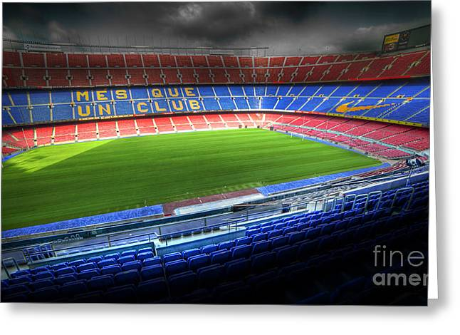 Camps Greeting Cards - The Camp Nou stadium in Barcelona Greeting Card by Michal Bednarek