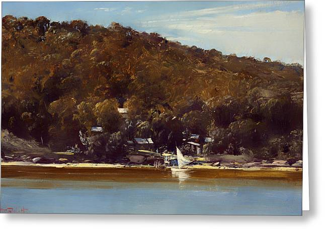 Boats On Water Greeting Cards - The Camp Sirius Cove Greeting Card by Tom Roberts