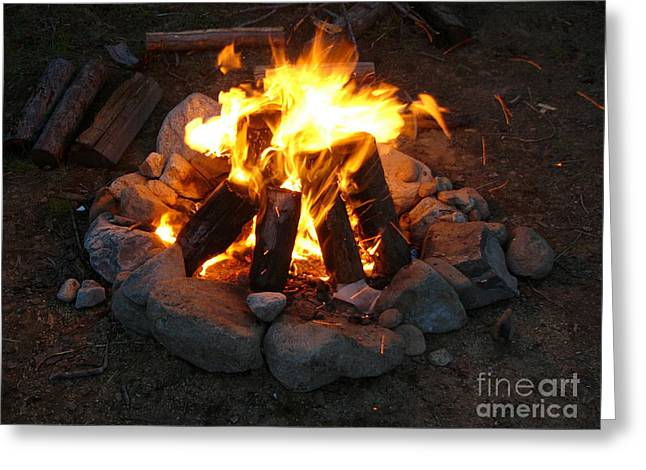 The Pyrography Greeting Cards - The Campfire Greeting Card by Boon Mee