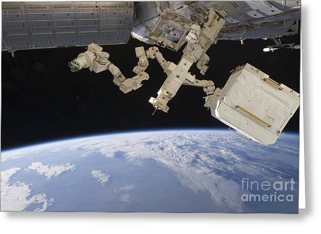Dexterous Greeting Cards - The Canadian-built Dextre Backdropped Greeting Card by Stocktrek Images