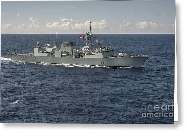 Halifax Photography Greeting Cards - The Canadian Frigate Hmcs Regina Greeting Card by Stocktrek Images