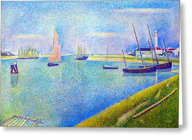Seurat Greeting Cards - The Canal At  Gravelines Greeting Card by Georges Seurat