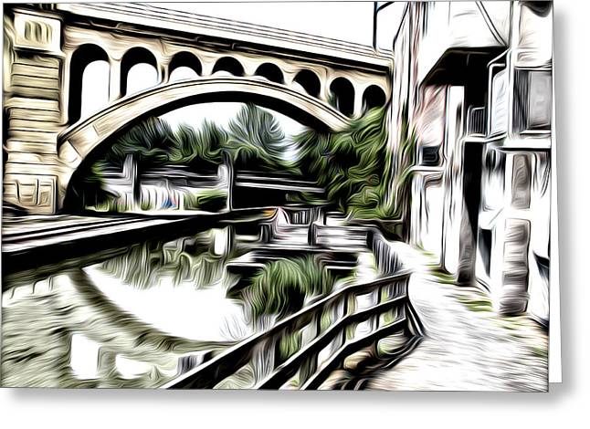 Phila Greeting Cards - The Canal at Manayunk Greeting Card by Bill Cannon