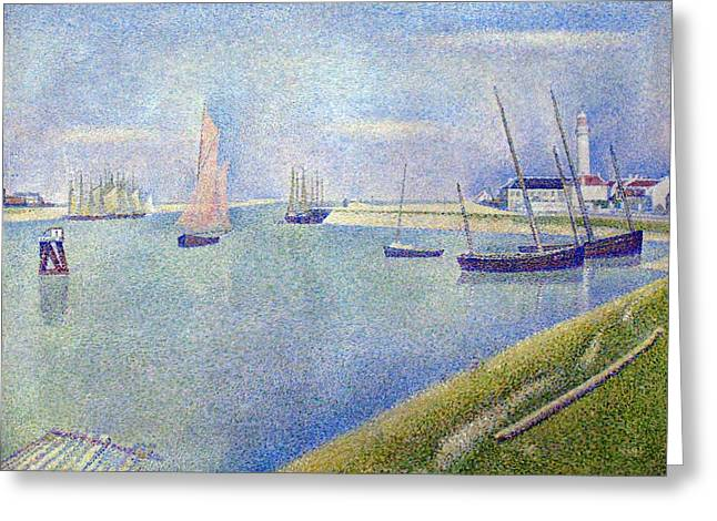 Seurat Greeting Cards - The canal of Gravelines Greeting Card by Georges Seurat