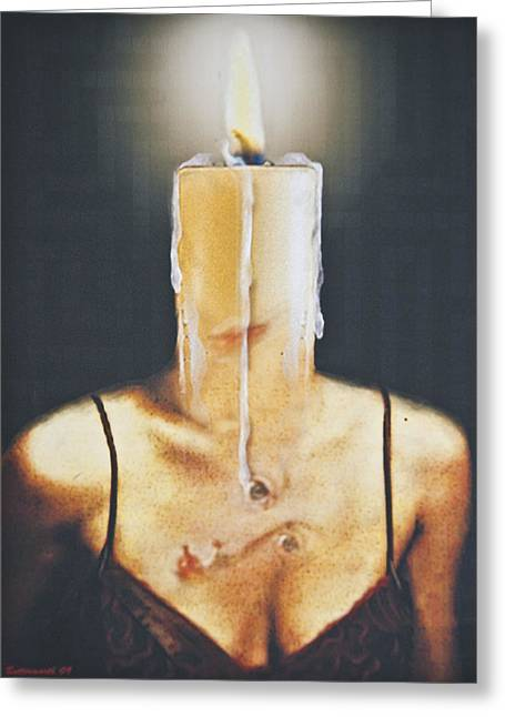 Therapy Greeting Cards - The Candle Flame Greeting Card by Larry Butterworth