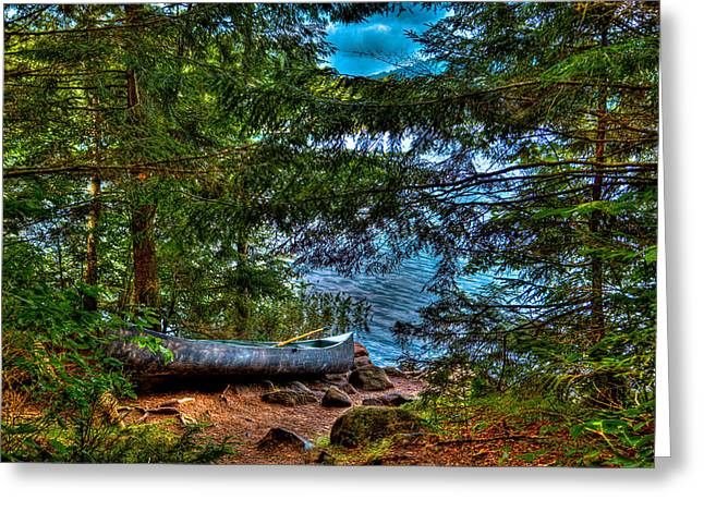 Yellow Canoe Greeting Cards - The Canoe on Bubb Lake Greeting Card by David Patterson