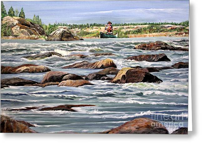 Canoe Greeting Cards - The Canoeist Greeting Card by Marilyn  McNish