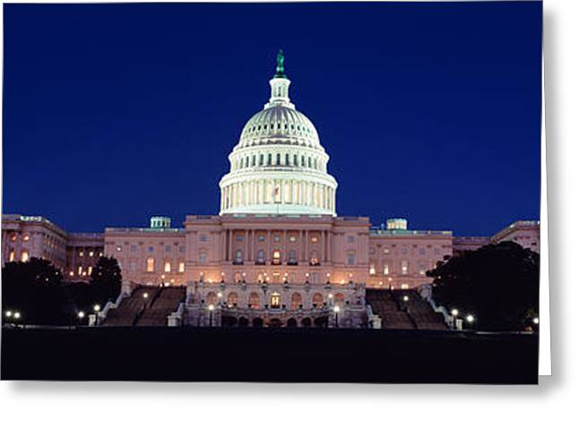 Us Congress Greeting Cards - The Capitol At Nighttime Greeting Card by Panoramic Images