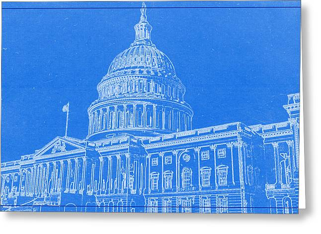 Lincoln Park Lagoon Greeting Cards - The Capitol BluePrint Greeting Card by Celestial Images