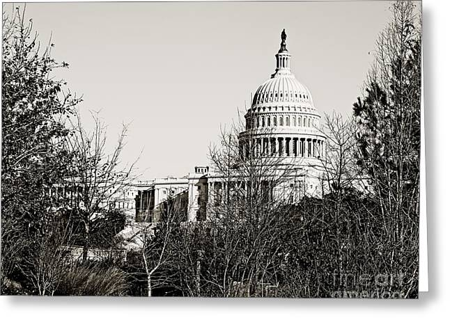 Us Capital Greeting Cards - The Capitol Building in DC Greeting Card by Emily Enz