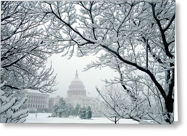 The Capitol In Snow Greeting Card by Joe  Connors