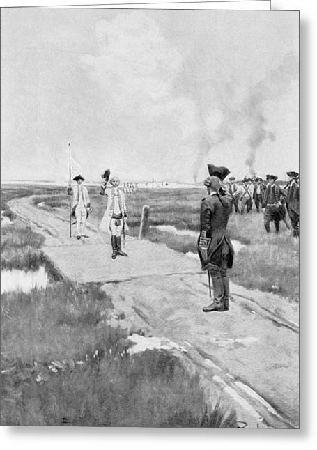 Brandywine Greeting Cards - The Capitulation Of Louisbourg, Illustration From Colonies And Nation By Woodrow Wilson, Pub Greeting Card by Howard Pyle