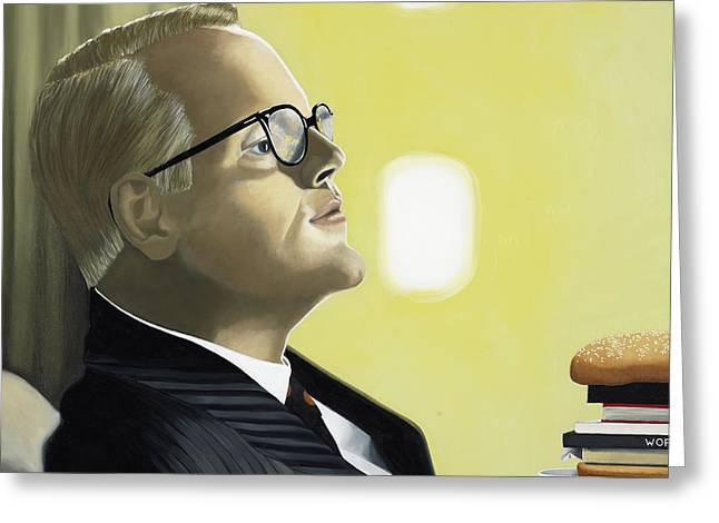 White Suit Greeting Cards - The Capote Burger Greeting Card by Marcella Lassen