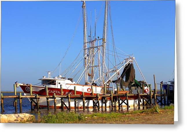 Shrimp Boat Captains Greeting Cards - The Captain HW Greeting Card by Gordon Elwell