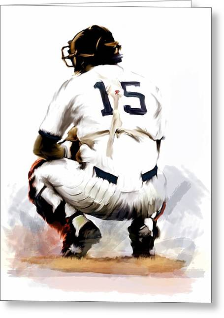 Baseball Art Drawings Greeting Cards - The Captain  Thurman Munson Greeting Card by Iconic Images Art Gallery David Pucciarelli