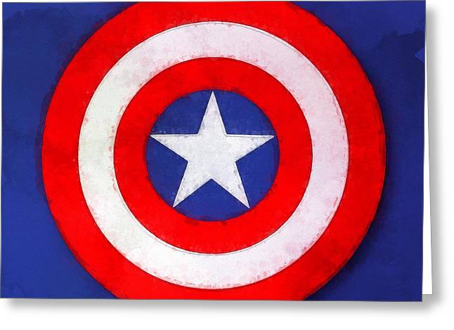 Captain America Paintings Greeting Cards - The Captains Shield Greeting Card by Sandy MacGowan