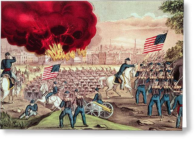 Civil Greeting Cards - The Capture Of Atlanta By The Union Army, 2nd September, 1864 Colour Litho Greeting Card by N. Currier