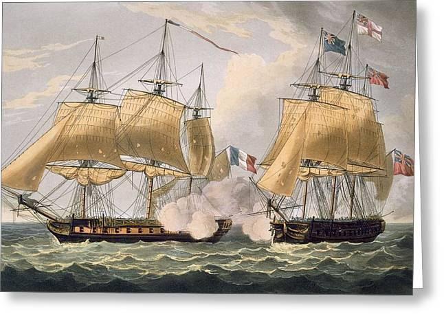 Sailing Ship Greeting Cards - The Capture Of La Clorinde Greeting Card by Thomas Whitcombe