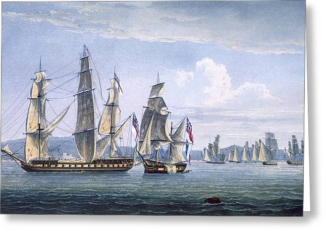 Naval History Greeting Cards - The Capture Of Le Sparviere Greeting Card by Thomas Whitcombe