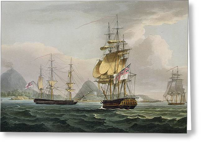 Cole Drawings Greeting Cards - The Capture Of The Island Of Banda Greeting Card by Thomas Whitcombe