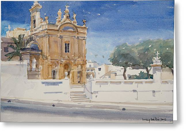 Maltese Photographs Greeting Cards - The Capuccini Church, 2012 Wc On Paper Greeting Card by Lucy Willis