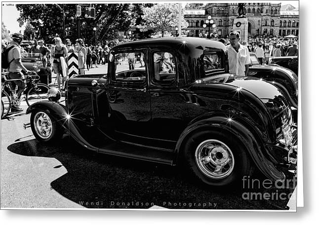 Deuce Coupe Greeting Cards - The Car Show Greeting Card by Wendi Donaldson