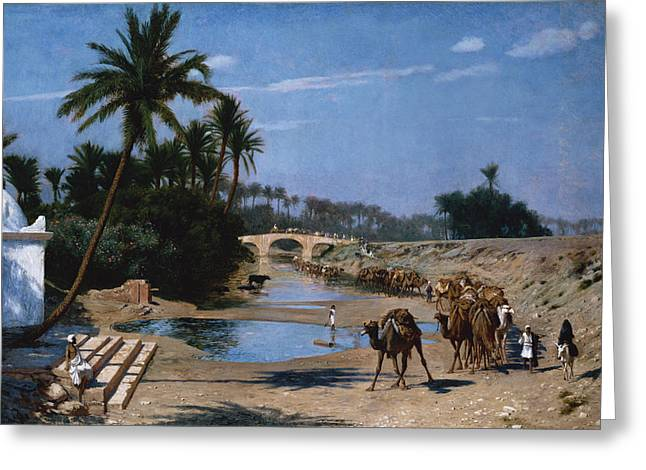 Jean Leon Gerome Greeting Cards - The Caravan Greeting Card by Jean Leon Gerome