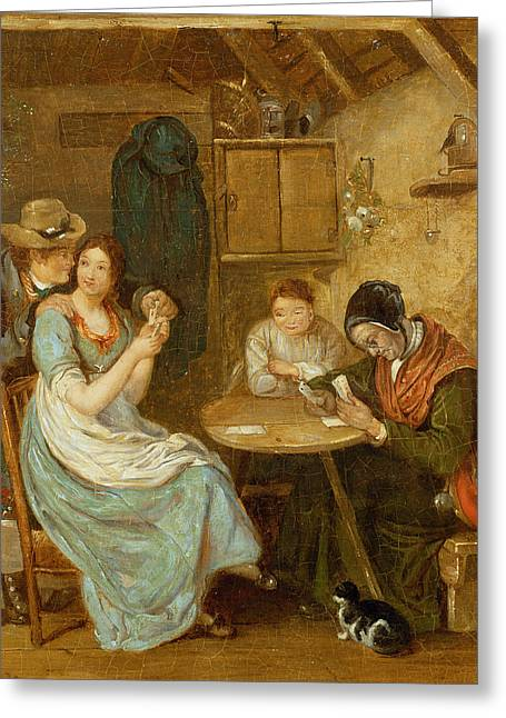 Mistletoe Greeting Cards - The Card Players Oil On Panel Greeting Card by John Burnet
