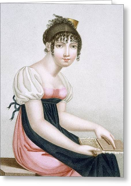 Edwardian Greeting Cards - The Carder, Engraved By Augrand, C.1816 Greeting Card by Madame G. Busset-Dubruste