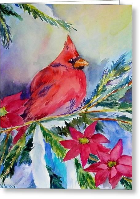 The Cardinal Greeting Card by Gloria Johnson