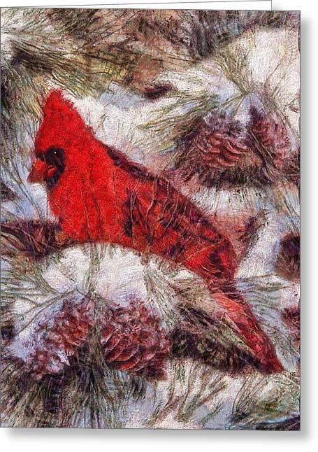 Van Gogh Style Photographs Greeting Cards - The Cardinal of Winter Greeting Card by Mario Carini