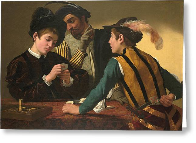 Caravaggio Greeting Cards - The Cardsharps Greeting Card by Caravaggio