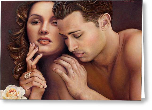 Man Pastels Greeting Cards - The Caress Greeting Card by Patrick Anthony Pierson